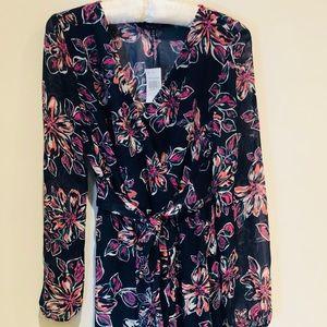 New Look maxi dress sheer long sleeve navy floral